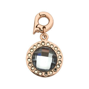 Chic Grey Glass Rose Gold Plate 15mm Charm