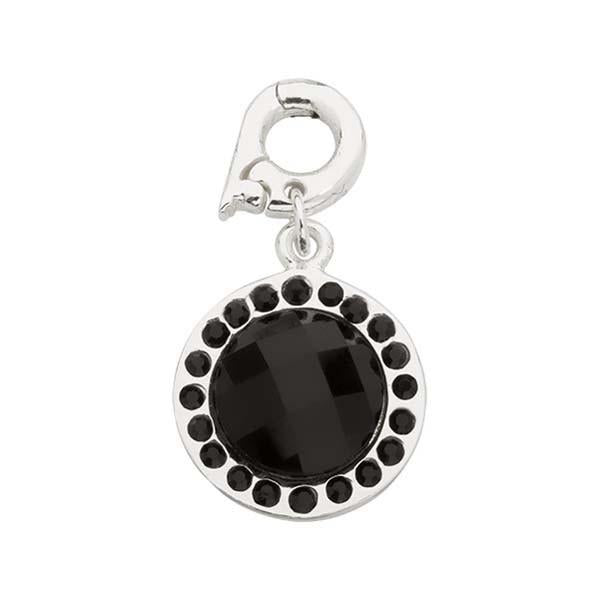 Chic Black Glass Silver Plated 15mm Charm