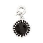 Chic Black Glass Silver Plate 15mm Charm