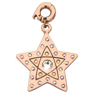 White Star Dust Rose Gold Plate 25mm Charm