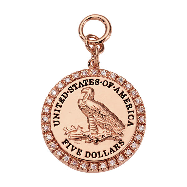 Nikki Lissoni Eagle Coin Rose Gold Plated 31mm Charm