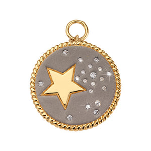Nikki Lissoni Grey Sky Gold Plated 32mm Charm