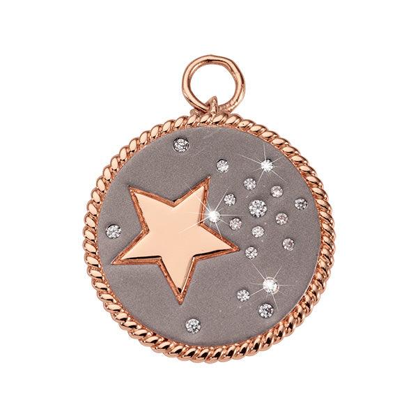 Nikki Lissoni Grey Sky Rose Gold Plated 32mm Charm