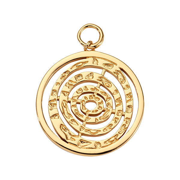 Nikki Lissoni Hammered Spiral Gold Plated 32mm Charm