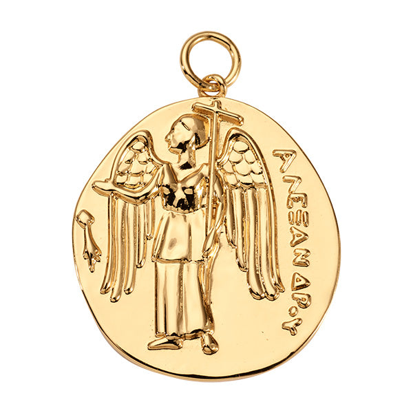 Ancient Coin Gold Plated 37mm Charm