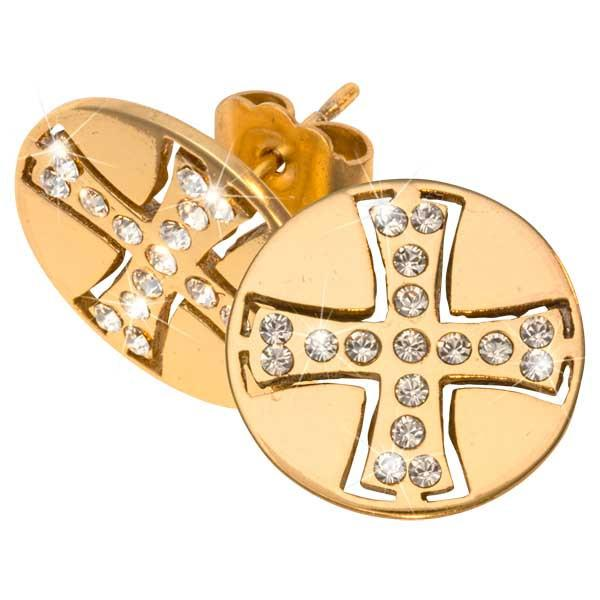 Celtic Cross Gold Plate 15mm Stud Earring