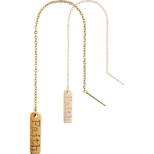 Faith Gold Plate Thread Earring