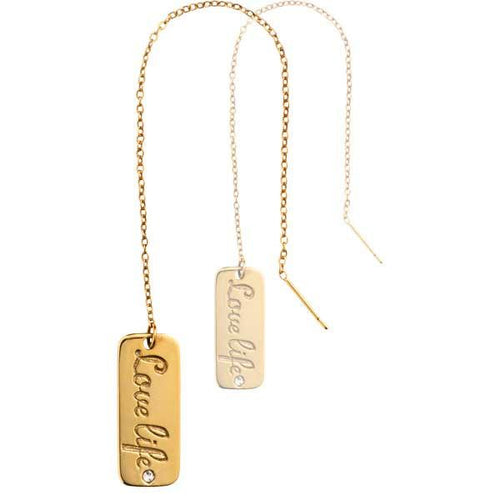 Love Life Gold Plate Thread Earring