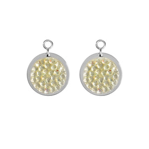 Clear Rock Crystal Silver Plate 14mm Earring