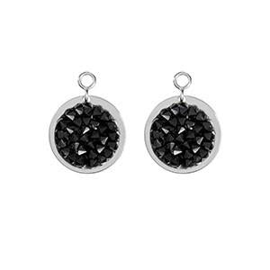 Nikki Lissoni - Black Rock Crystal Silver Plate 14mm Earring