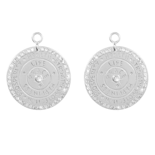 Wisdom Of Words Silver Plate 24mm Earring