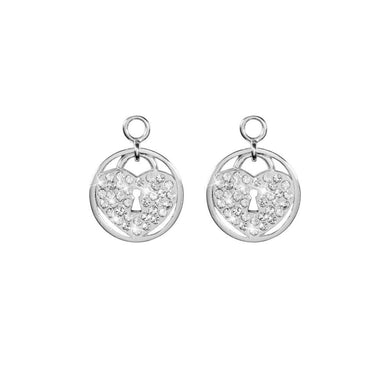 Sparkling Lock Silver Plate 14mm Earring