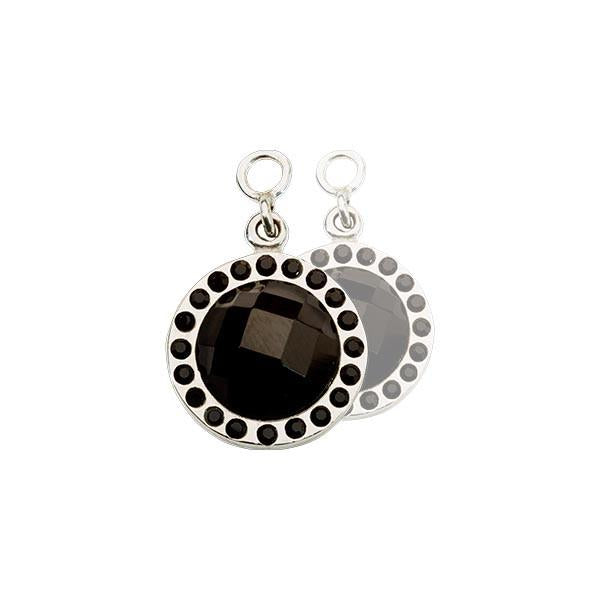 Chic Black Glass Silver Plate 14mm Earring