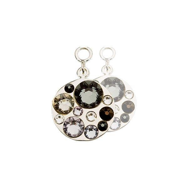 Nikki Lissoni - Grey & Black Swarovski Silver Plate 14mm Earring