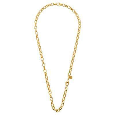Oval Belcher Charm Necklet Gold Plated 45 cm