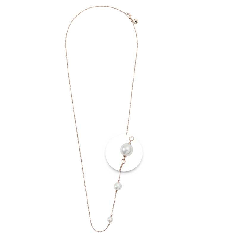 White Pearl Necklet Rosé Gold Plated 80cm