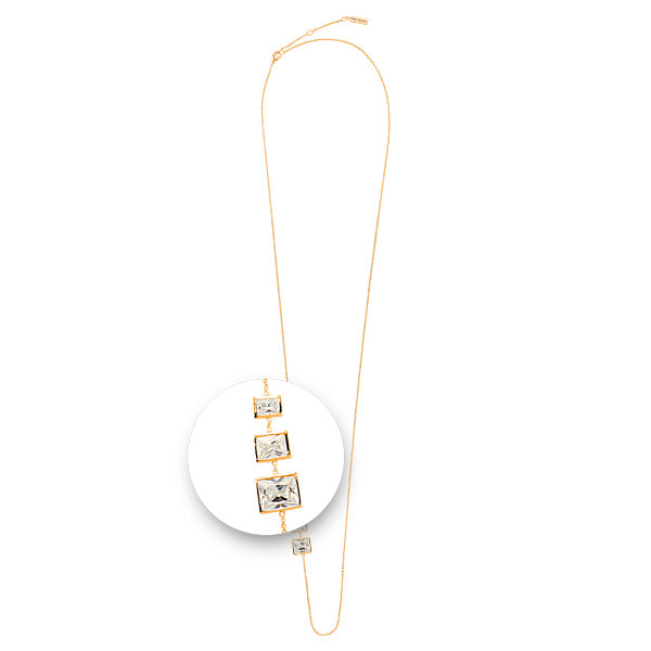 Square Stones Necklet Gold Plated 80cm