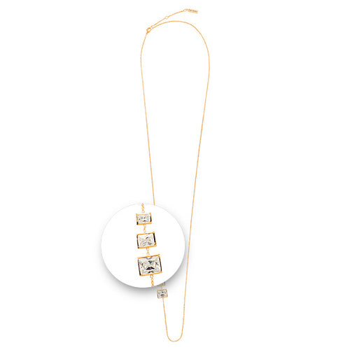 Nikki Lissoni - Square Stones Necklet Gold Plated 80cm