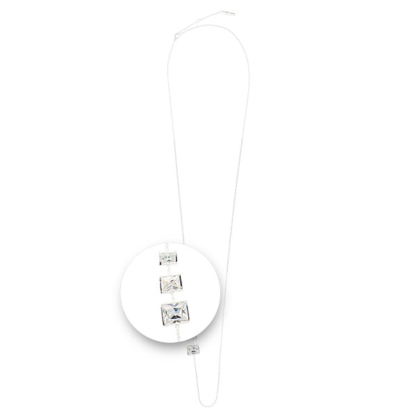 Square Stones Necklet Silver Plated 80cm
