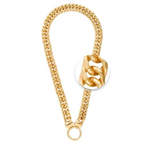 Necklet Double Curb Yellow Gold Plated 50cm