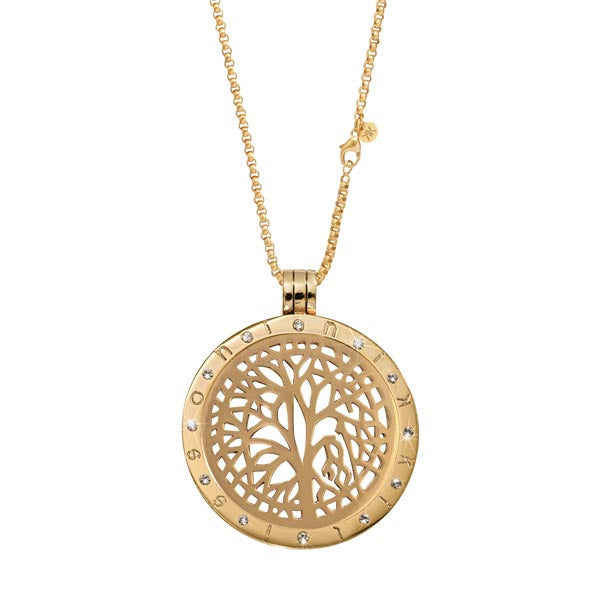 Gold Plated Tree Of Life Coin Necklace Set 70cm