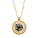 Gold Plated Sparkle Black Coin Necklace Set 70cm