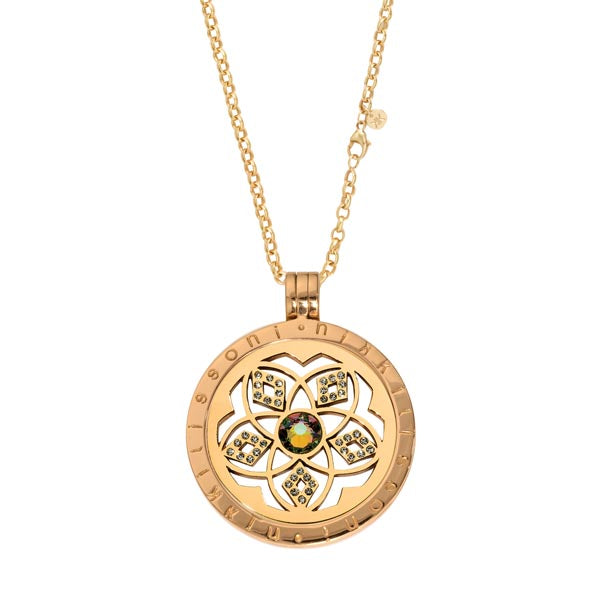 Gold Plated Charming Flower Coin Necklace Set 60cm
