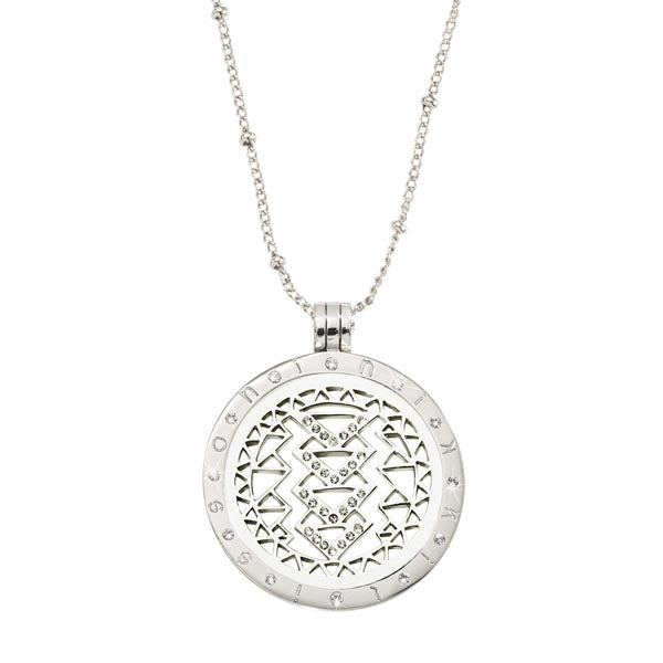 Silver Plated Aztec Beauty Coin Necklace Set 75cm