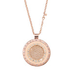 Rose Gold Plated Rock Crystal Coin Necklace Set 80cm