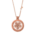 Rose Gold Plated Lovely Flower Coin Necklace Set 70cm