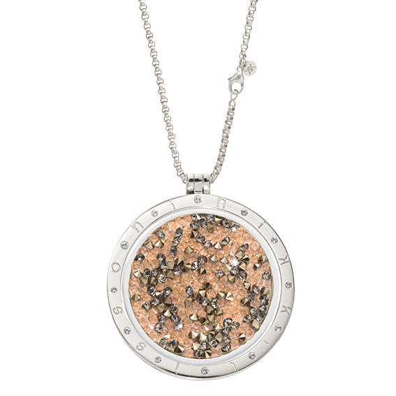 Peach & Black Rock Crystal Silver Plated 43mm Coin