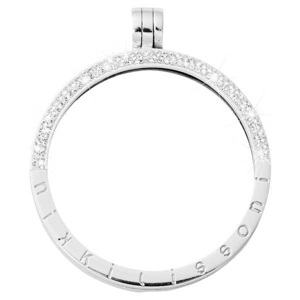 Pendant Half Pave Silver Plated