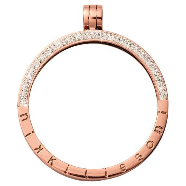 Pendant Half Pave Rose Gold Plated