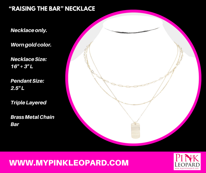 """Raising The Bar"" Necklace (Worn Gold)"