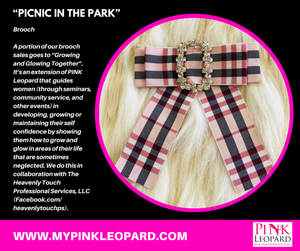 picnic in the park, plaid brooch, bow tie, summer time