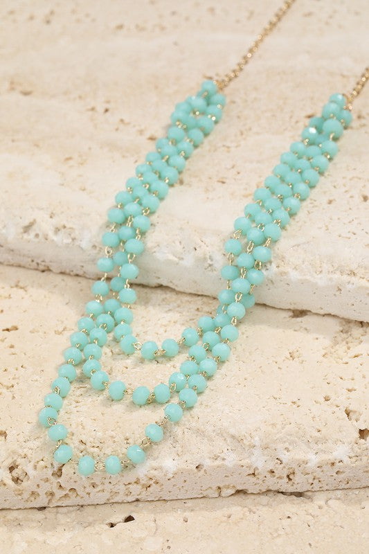 Three Strand Glass Bead Turquoise Necklace