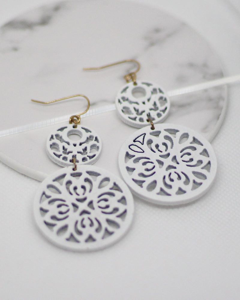 Wood Filigree Earrings- 4 Colors