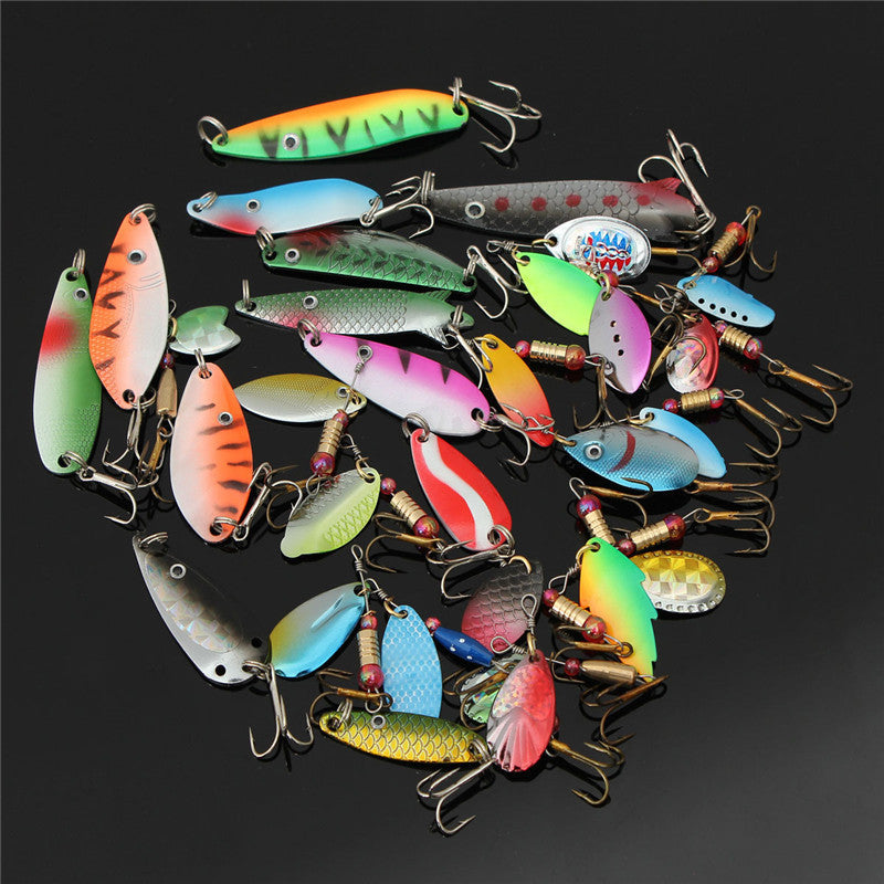 30pcs Minnow Spinner Spoon Metal Artificial Bait Tackle Hooks