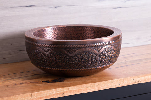 Copper Aztec Wash Bowl