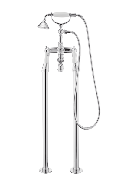 Traditional Bath Shower Mixer On Pipe Stands - Porcelain Lever