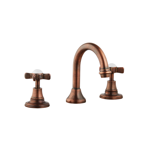 Colonial Bathroom Taps - Goose Spout - Porcelain Lever