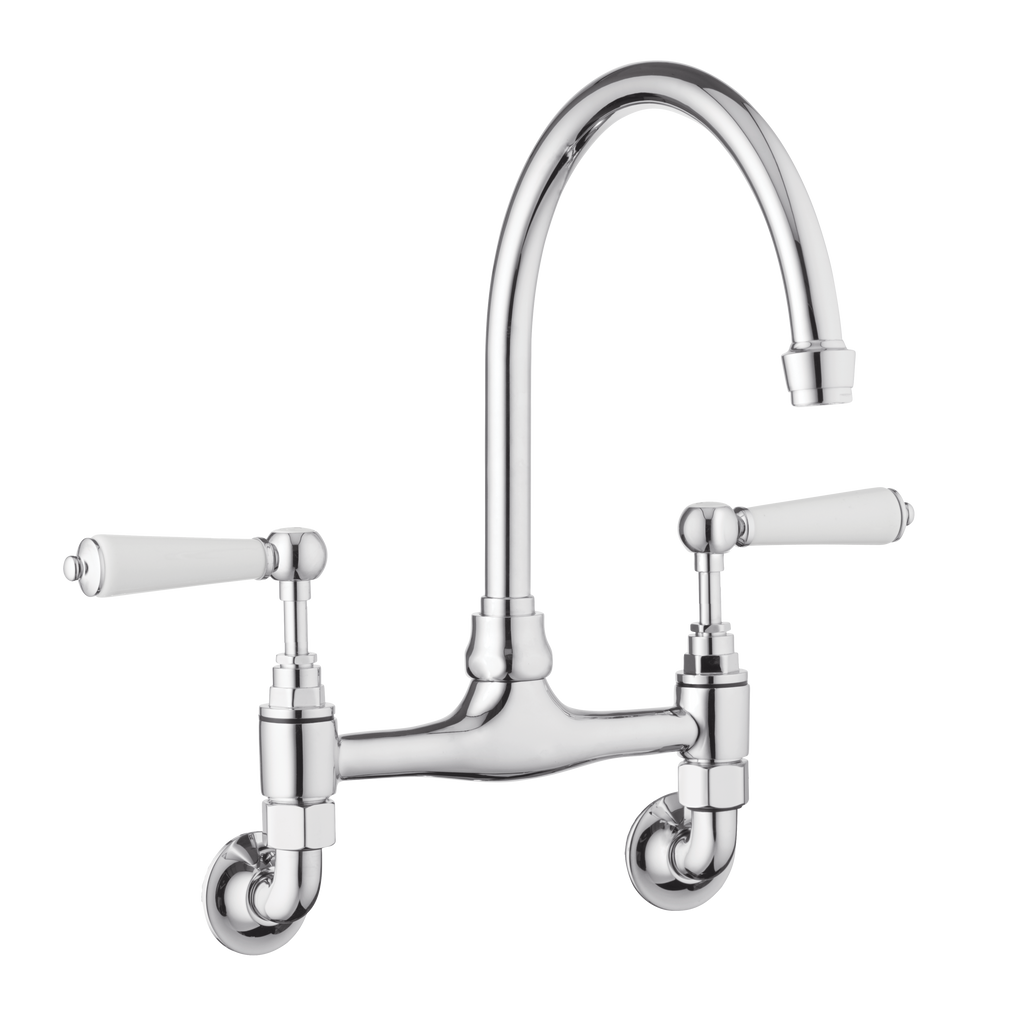 Traditional Kitchen Mixer Tap - Wall Mounted - Metal Levers