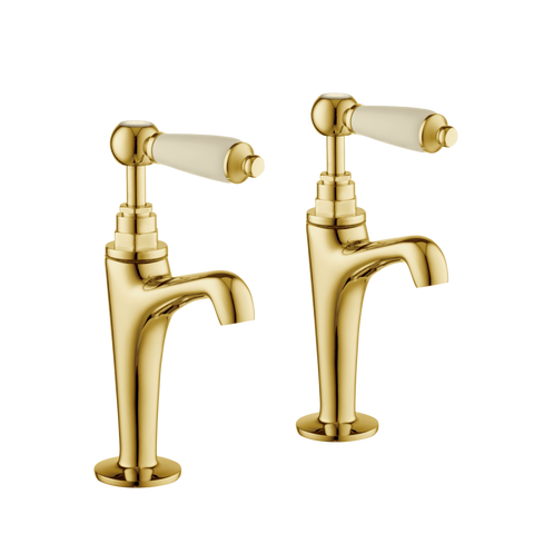 High Neck Pillar Taps - Porcelain Levers