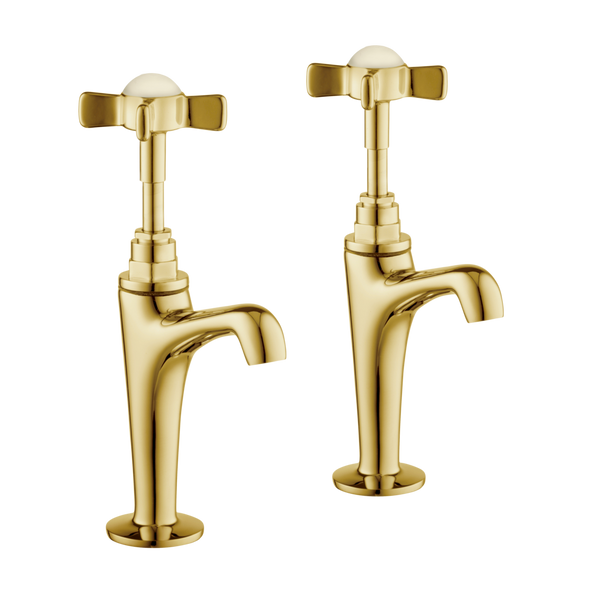 High Neck Pillar Taps - Cross Handles