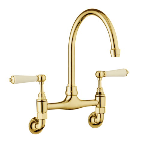 Traditional Kitchen Mixer Tap - Wall Mounted - Porcelain Levers
