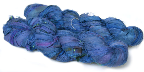 Blue Recycled Sari Silk Ribbon Australia