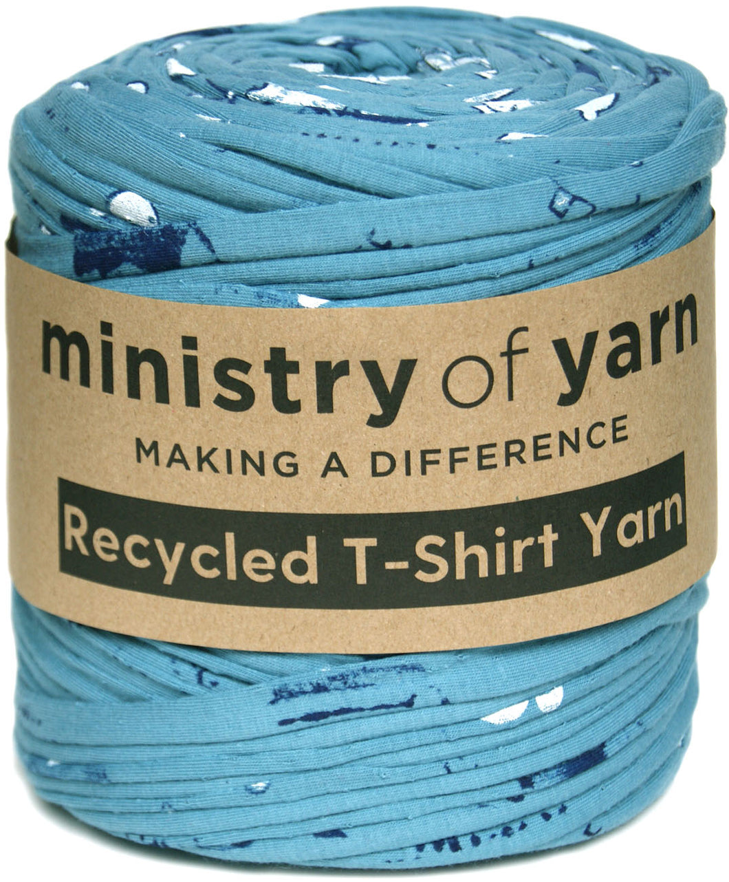 Light teal printed Recycled t-shirt yarn Australia