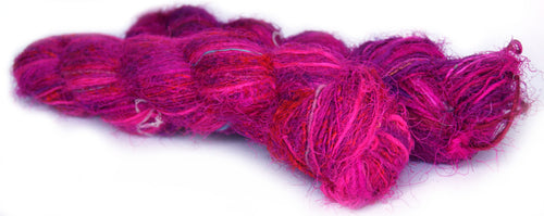 Bright pink and purple spun recycled sari yarn Australia