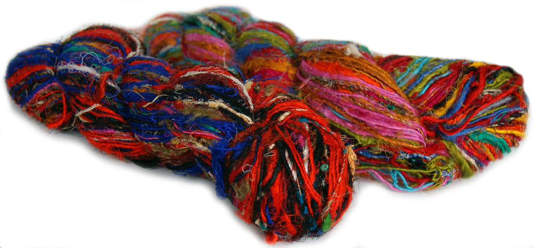 multicoloured recycled spun silk sari yarn australia