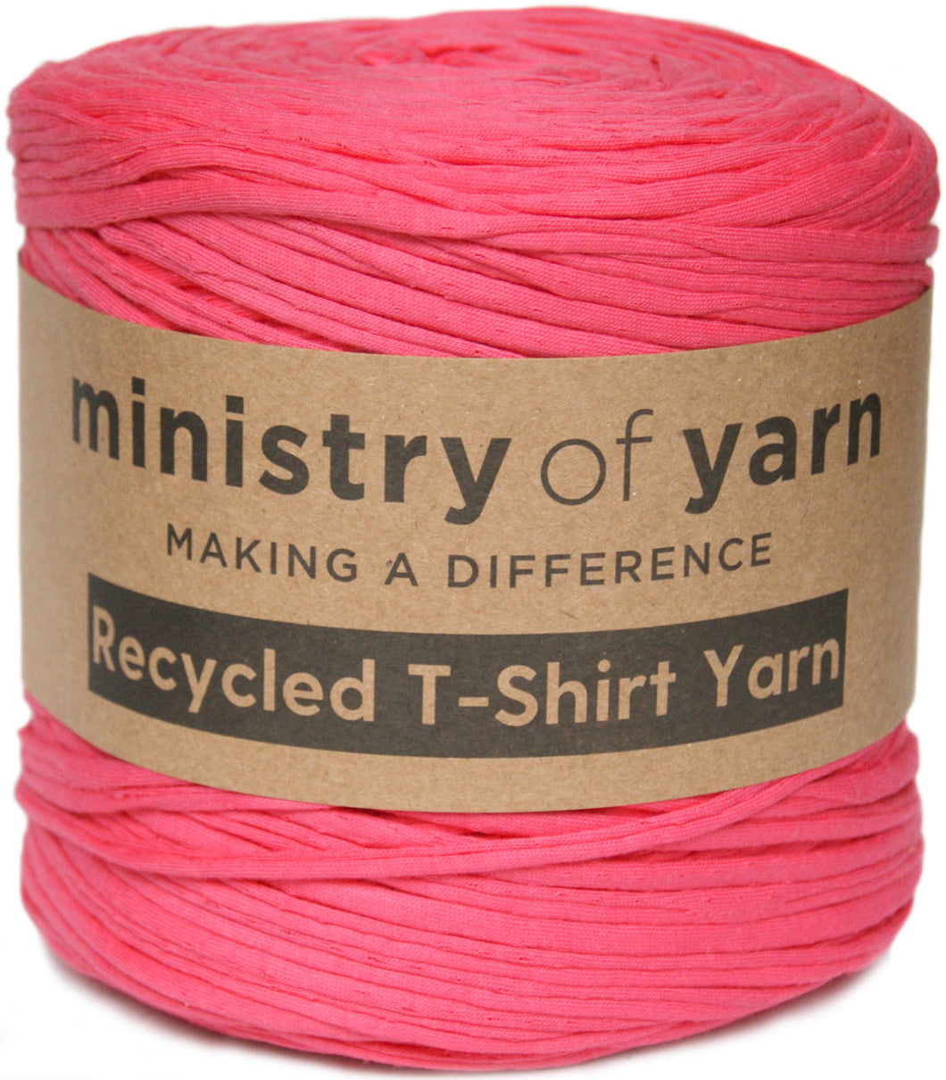 Light bright pink recycled t-shirt yarn Australia